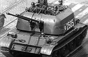 ZSU-57-2 - Polish ZSU-57-2 on a street.