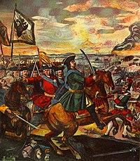 Peter I in the Battle of Poltava (a mosaic by Mikhail Lomonosov)