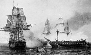 Battle of Neuville - Pomone fighting two British frigates during the Battle of Neuville. Painting by Auguste Étienne François Mayer.