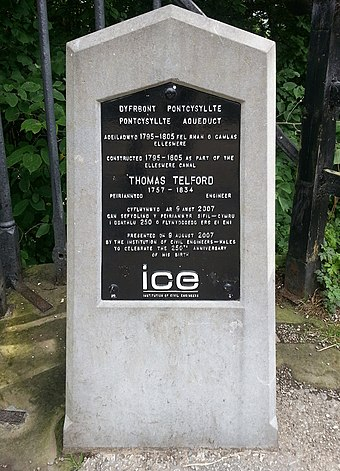 Plaque commemorating the construction of the Pontcysyllte Aqueduct between 1795 and 1805 by Thomas Telford