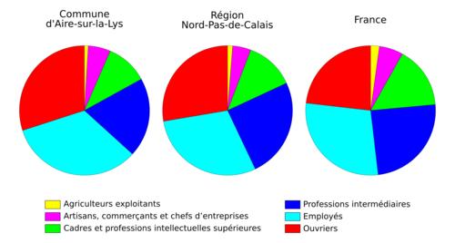 Diagrammes circulaires représentant les données du tableau précédent