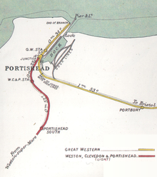Old map showing the dock and the railway lines.