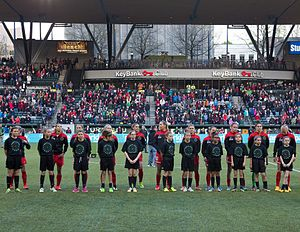 United States Soccer Federation - Portland Thorns players before a match, April 2015