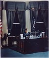 Portrait of President Kennedy at his desk. White House, Oval Office - NARA - 194203.tif