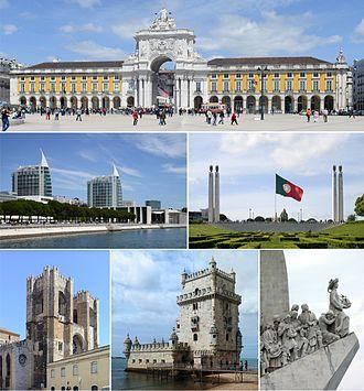 Lisbon - Clockwise, from top: Praça do Comércio, Parque Eduardo VII, Padrão dos Descobrimentos, Torre de Belém, the Sé de Lisboa,  and Parque das Nações.