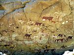 Prehistoric Rock Paintings at Manda Guéli Cave in the Ennedi Mountains - northeastern Chad 2015.jpg