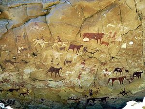 Saharan rock art - Manda Guéli Cave in the Ennedi Mountains, northeastern Chad