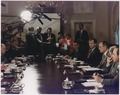 President Bush participates in a full National Security Council meeting regarding Iraq's invasion of Kuwait with... - NARA - 186416.tif
