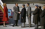 President Richard Nixon and Premier Chou En-Lai Shake Hands at the Nixons' Arrival in Peking, China