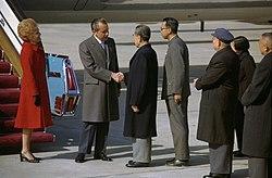 President Richard Nixon and Premier Chou En-Lai Shake Hands at the Nixons' Arrival in Peking, China.jpg