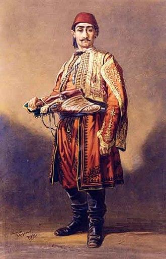 Albanians of Romania - An Albanian in Wallachia (1866 watercolor by Amadeo Preziosi)