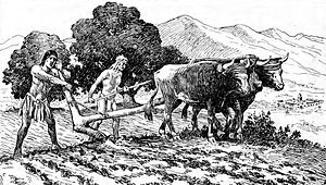 Timeline of the American Old West - Natives utilize a primitive plow to prepare a field for planting near Mission San Diego de Alcalá. Drawing by A.B. Dodge, 1920.