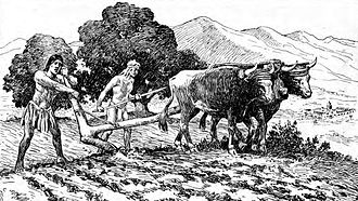 Spanish missions in California - Natives utilize a primitive plow to prepare a field for planting near Mission San Diego de Alcalá.