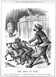 Russia preparing to release the Balkan dogs of war, while Britain warns him to take care. Punch cartoon from June 17, 1876