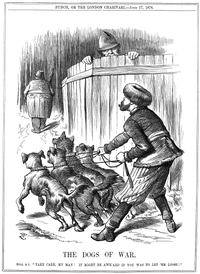 """Punch cartoon from June 17, 1876. Russian Empire preparing to let slip the Balkan """"Dogs of War"""" to attack the Ottoman Empire, while policeman John Bull (UK) warns Russia to take care. Supported by Russia, Serbia and Montenegro would declare war on the Ottoman Empire one day later."""
