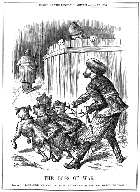 "Punch cartoon from June 17. Russia preparing to let slip the ""Dogs of War"", its imminent engagement in the growing Balkan conflict between Slavic states and Turkey, while policeman John Bull (Britain) warns Russia to take care. The Slavic states of Serbia and Montenegro would declare war on Turkey two weeks later. Punch - The Dogs of War.png"