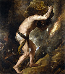 Painting of Sisyphys by Titian