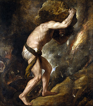 Sisyphus - Sisyphys (1548–49) by Titian, Prado Museum, Madrid, Spain