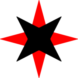 A black four-pointed star set to point diagonally, superimposed on a slightly larger red four-pointed star set to point up, down, left and right.