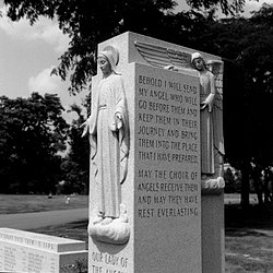 A monument to the victims in the Queen of Heaven Cemetery, by sculptor Corrado Parducci.