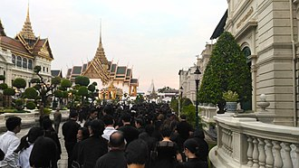 Thai royal funeral - Members of the public queuing to pay their last respects to King Bhumibol Adulyadej in 2017