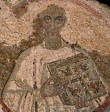 Den hellige Quodvultdeus av Kartago, mosaikk fra 400-tallet i Galleria dei Vescovi i Januarius-katakombene i Napoli