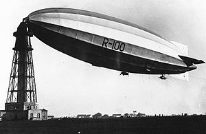 George Herbert Scott - R100 moored to a high mast at Saint-Hubert, Quebec, 1930.