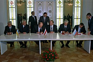 Leonid Kravchuk - Ukrainian President Leonid Kravchuk and President of the Russian Federation Boris Yeltsin signed the Belavezha Accords, dissolving the Soviet Union, 8 December 1991