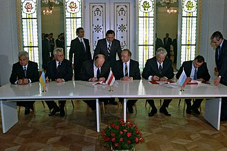 Boris Yeltsin - Leaders of the Soviet Republics sign the Belovezha Accords, which eliminated the USSR