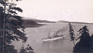 RMS Empress of Japan (1890) - Empress of Japan enters Vancouver Harbour in 1893.