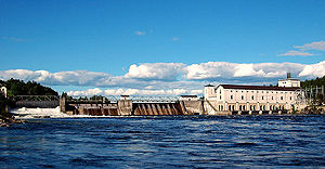 Energy in Norway - The Rånåsfoss power station (98MW) on the Glomma River. Norway's 1,166 hydroelectric generating stations provide between 98% and 99% of the country's power supply.