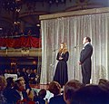Raquel Welch with Bob Hope giving a benefit performance at the Waldorf-Astoria for the Eisenhower Medical Center (02).jpg