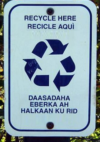 Somali Latin alphabet - Image: Recycle in Somali Latin alphabet