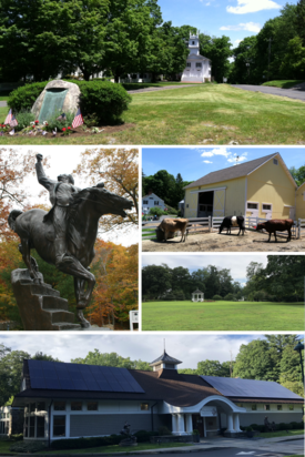 Clockwise from top: Town Center; New Pond Farm; Redding Green; Mark Twain Library; Statue of General Israel Putnam at Putnam Memorial State Park
