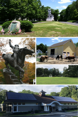 """Clockwise from top: Town Center; New Pond Farm; Redding Green; <a href=""""http://search.lycos.com/web/?_z=0&amp;q=%22Mark%20Twain%22"""">Mark Twain</a> Library; Statue of General <a href=""""http://search.lycos.com/web/?_z=0&amp;q=%22Israel%20Putnam%22"""">Israel Putnam</a> at <a href=""""http://search.lycos.com/web/?_z=0&amp;q=%22Putnam%20Memorial%20State%20Park%22"""">Putnam Memorial State Park</a>"""