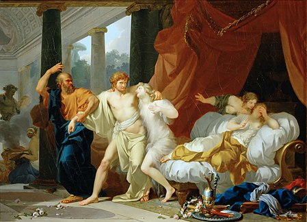 Socrates Tears Alcibiades from the Embrace of Sensual Pleasure by Jean-Baptiste Regnault (1791) Regnault Socrates Tears Alcibiades from the Embrace of Sensual Pleasure.jpg