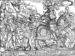 Le duc René II à la tête de ses troupes suisses devant la ville de Saint-Dié (Liber Nanceidos (Pierre de Blarru, 1519)
