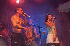 Calle 13 (band) - Residente and PG-13 during the 34th. Support to Claridad Festival, in San Juan, Puerto Rico, 24 April 2008