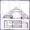 Reproductie van een bouwkundige tekening van de boerderij- gedeeltelijke plattegrond en doorsnede van een boerenhuizinge in de greidstreek omstreeks het begin der 19-de eeuw, in de vroegere Middelzee - Unknown - 20450079 - RCE.jpg