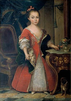 Maria I of Portugal - D. Maria Francisca, Princess of Beira, Duchess of Barcelos; Pavona; 1739.