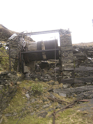Cable railway - The remains of the winding house at the head of the Rhiwbach Tramway No. 2 incline, 2007