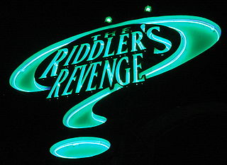 The Riddlers Revenge Stand-up roller coaster at Six Flags Magic Mountain