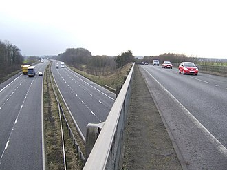A18 road (England) - Crossing the M180 near Castlethorpe between Scunthorpe and Brigg