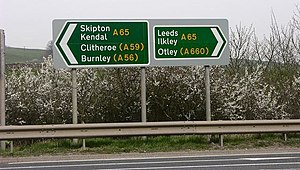 A65 road - Image: Roadsign A65 geograph.org.uk 401321