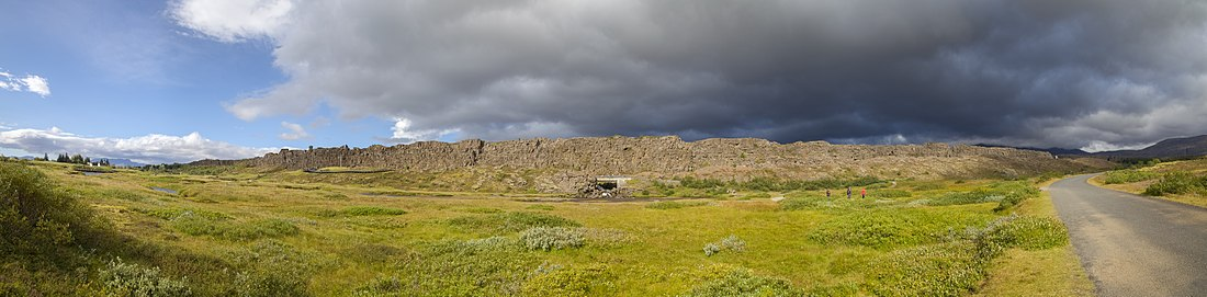 Panorama of Þingvellir in Summer from the opposite side showing the magnitude of the Rock of Law.