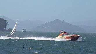 """Blue & Gold Fleet - """"RocketBoat"""" out on the Bay"""