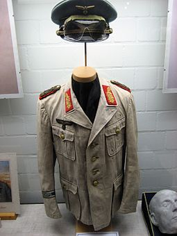 Allegedly Rommel's desert uniform and death mask (right) displayed at the German Tank Museum in Munster Rommel's Africa uniform.jpg