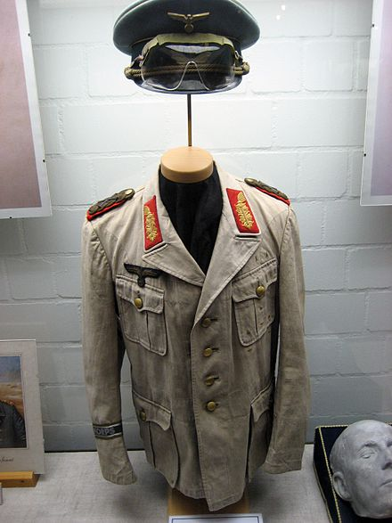 Rommel's Afrika Korps uniform. Note that the color, originally olive, is faded to greenish khaki. - World War II German uniform