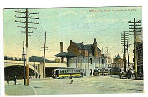Roxbury Crossing (MBTA station) - Roxbury Crossing station on a 1909 postcard