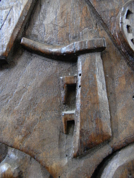 A ship's rudder carved in oak, 15th century, Bere Ferrers church, Devon. Heraldic badge of Cheyne and Willoughby families - Rudder
